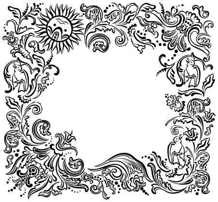 white cloth: Black ornamental border, frame . Flower garden Illustration