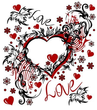 heart tattoo: Valentine s Day card in the style of abstract floral pattern, inscription love