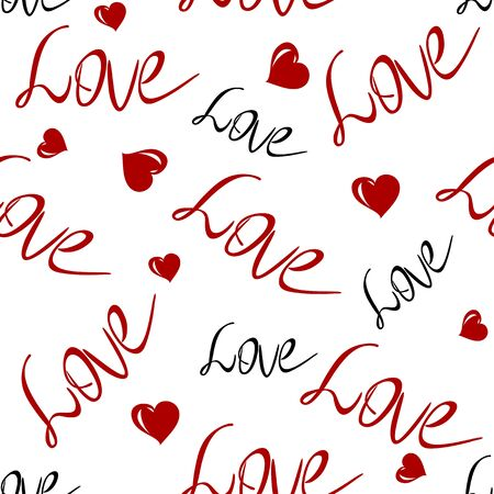 Valentine s Day background with the words love and hearts