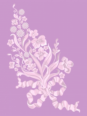 Bouquet of flowers with a bow, floristics. Vector