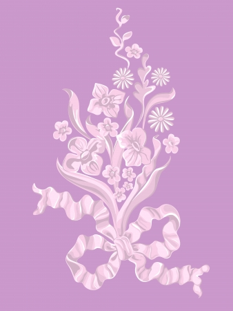 Bouquet of flowers with a bow. Vector