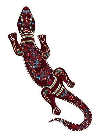traditional climbing: Lizard with decorative patterns Illustration