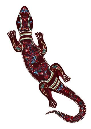 mexican art: Lucertola con motivi decorativi