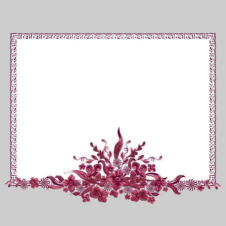 Design frame. Bouquet of flowers.  Vector