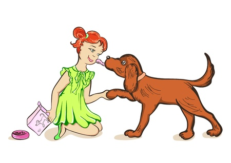 Girl feeds a dog Illustration