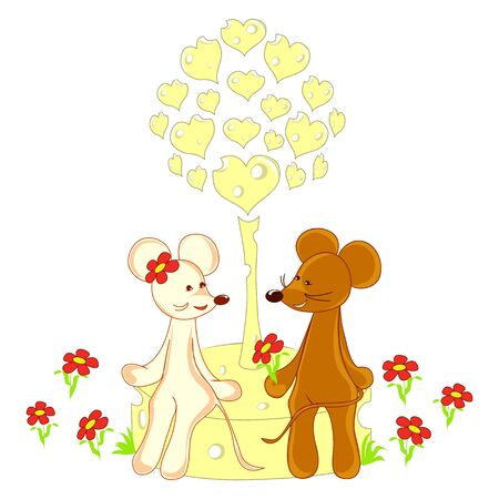 romantic mouse  Love card Vector