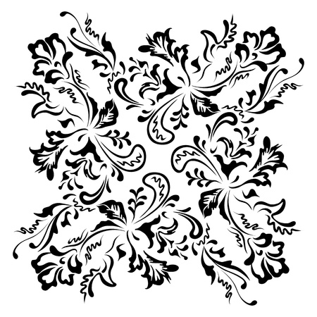 Black floral swirling ornament Vector