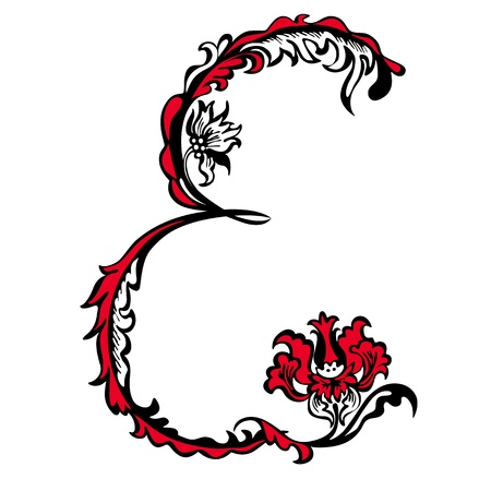 Initial letter E on a white background  Abstract floral pattern
