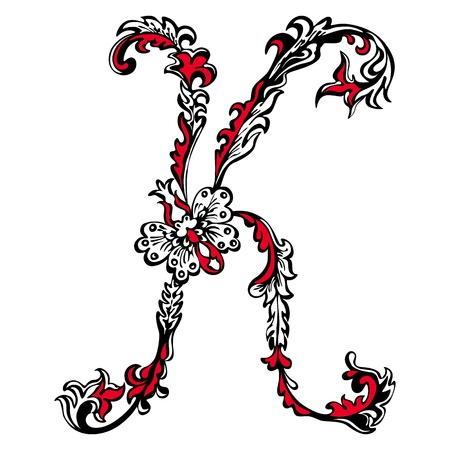 Initial letter K on a white background  Abstract floral pattern Stock Vector - 17470026