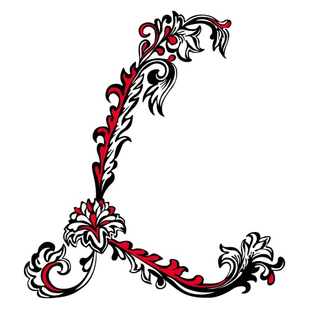Initial letter L on a white background  Abstract floral pattern Illustration