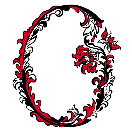 Initial letter O on a white background  Abstract floral pattern Illustration