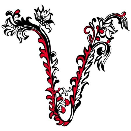 manuscrita: Letra V inicial em um fundo branco padr