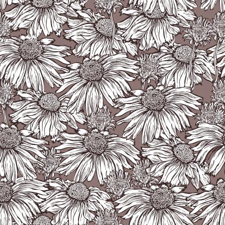 margriet: naadloze patroon floral achtergrond met bloem margriet