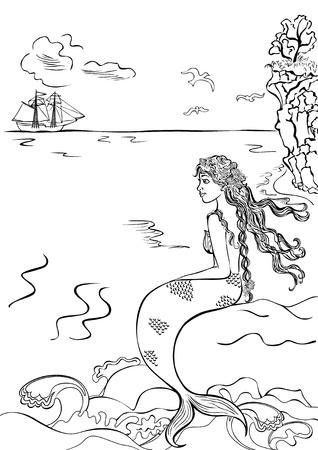playa caricatura: hermosa sirena sentada sobre una roca, mirando la nave. libro para colorear