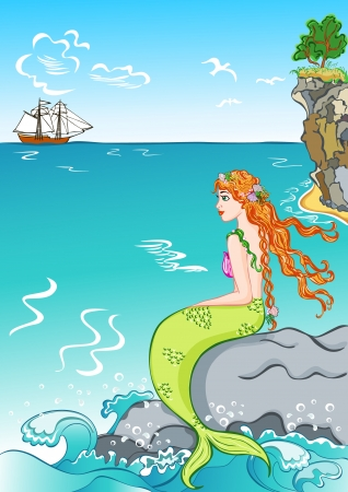 beautiful mermaid sitting on a rock, watching the ship Stock Vector - 17722388