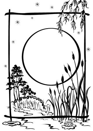 mere: natural background, sketch. The pond reeds grow, moonlit night Illustration