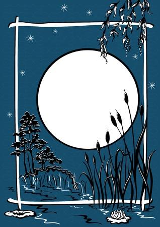 mere: Night landscape. The pond reeds grow, moonlit night
