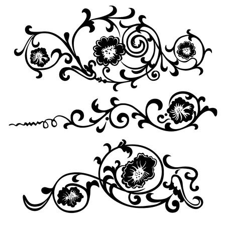 デザイン花と花の装飾のための旋回の要素  イラスト・ベクター素材