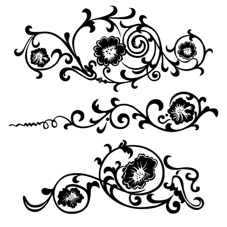 calligraphic design: swirling elements for design flowers and ornaments floral