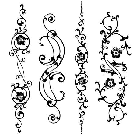 A set of  swirling elements for design flowers and ornaments floral