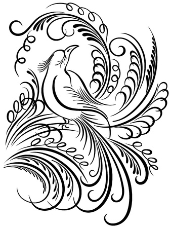 Image of a bird. Calligraphy swirling elements  Vector