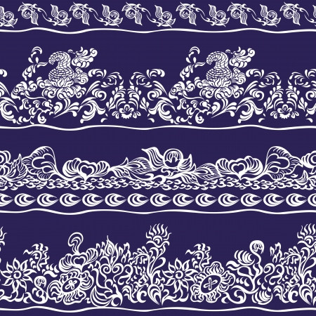 Design border, webbing, lace seamless pattern with swirling decorative floral elements. Edge of the fabric, wallpaper Vector