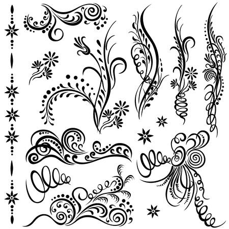 Set swirling decorative elements ornament