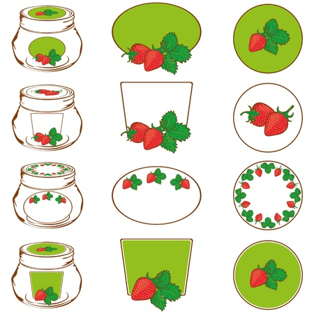Set of labels for strawberry jam Vector