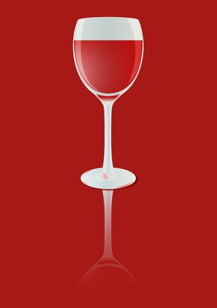 red wine glass: Closeup red wine glass Stock Illustratie