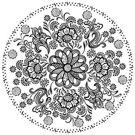 Mandala pattern with decorative floral elements Vector