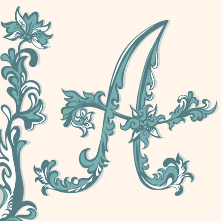 Initial letter  Abstract floral pattern Vector