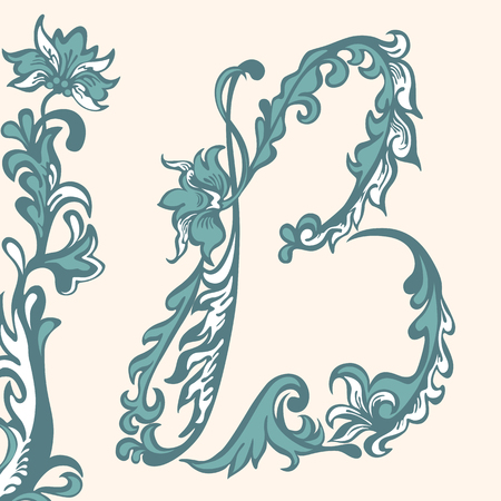 cursive: Initial letter B . Abstract floral pattern