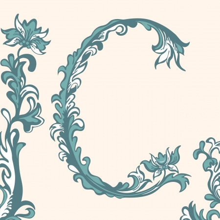 Initial letter C. Abstract floral pattern Vector