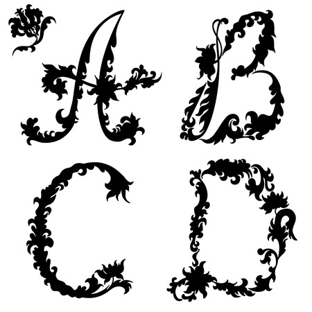 cursive: Initial letter silhouette A B C D. Abstract floral pattern Illustration