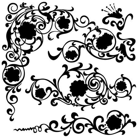 Set floral swirling pattern, silhouette black design ornament flower motifs Vector