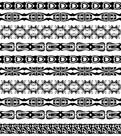 webbing: Set of seamless lase trims border pattern, silhouette black design ornament