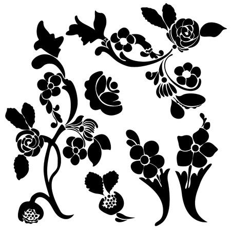 Set silhouette black design ornament flower motifs Vector