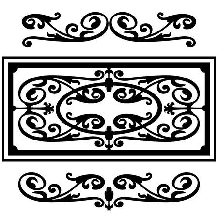 barok ornament: Wervelende patroon, silhouet zwart design barokke ornament motieven