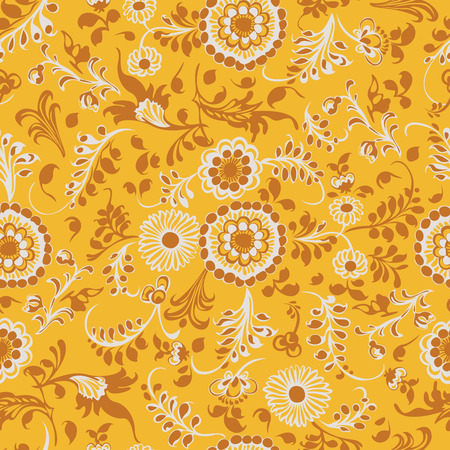 Seamless pattern yellow, floral swirling decorative elements Vector