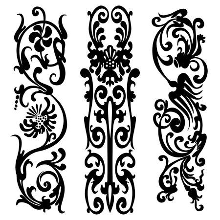 webbing: Swirling pattern, silhouette black design ornament motifs