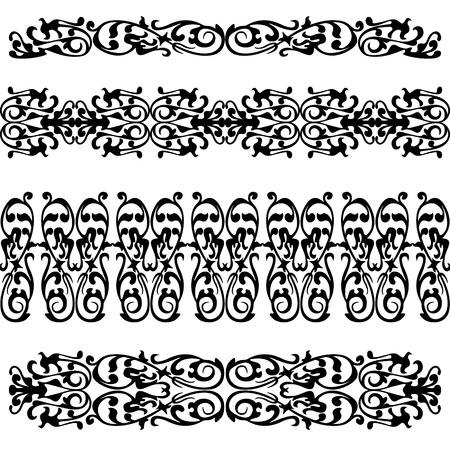 webbing: Set of seamless lase border pattern, silhouette black design ornament Illustration