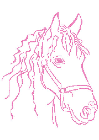 Closeup cross stitch embroidery of  horse head Vector