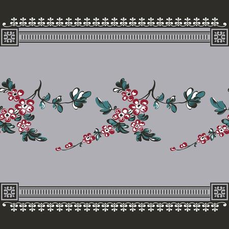花の背景、抽象的な派手な花との国境