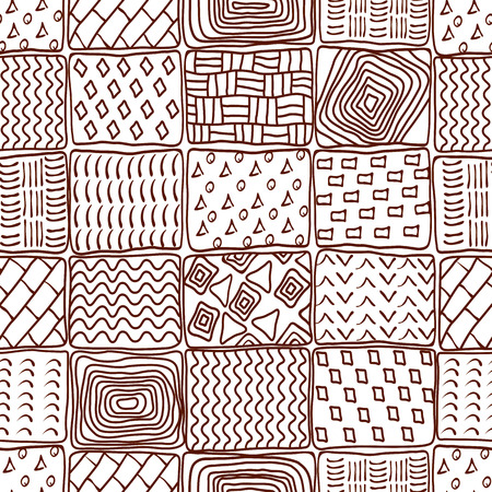 Seamless ethnic background. Abstract geometric pattern doodle style Vector