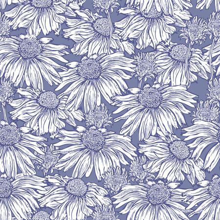 margriet: Naadloze florale achtergrond, stof, behang met margriet, kamille Stock Illustratie