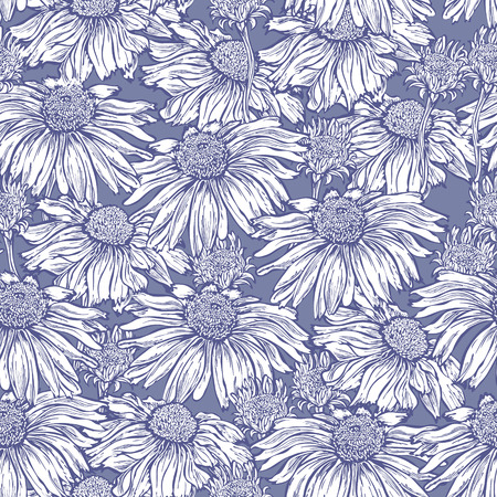 curle: Seamless  floral background, fabric, wallpaper with marguerite, camomile