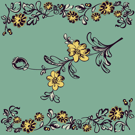 curle: Drawing  pattern fancy flower, painting closeup on a green background