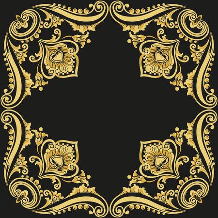 Gold ornament pattern vintage frame on a black background Vector