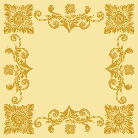 whirling: Gold ornament pattern vintage frame on a yellow background