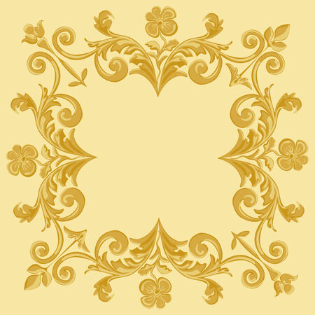 Ornament gold floral pattern vintage frame on a yellow background Vector